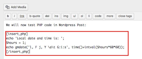 درج کد PHP در نوشته