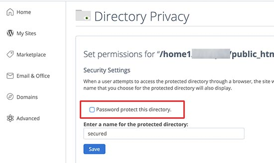 قسمت Directory Privacy