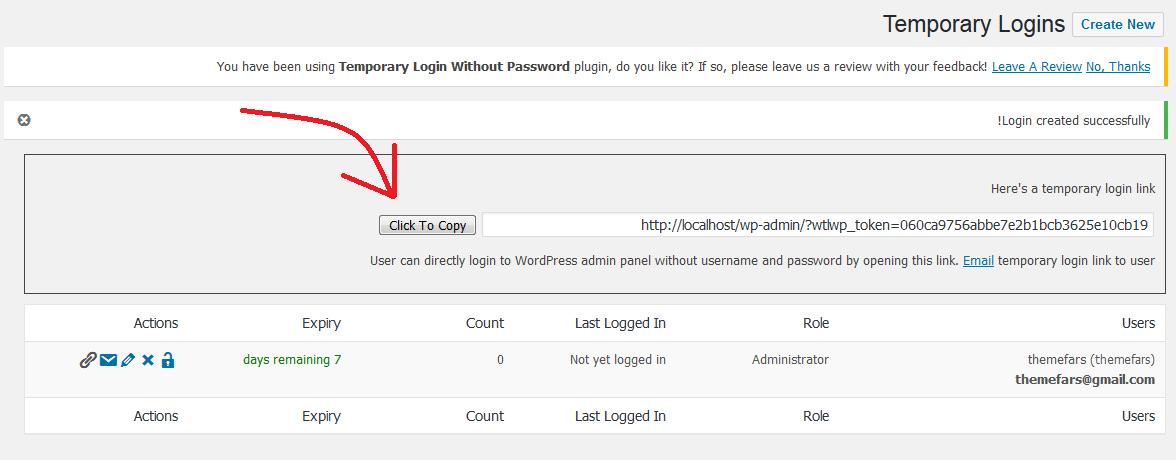 ایجاد حساب کاربری موقت در وردپرس بدون رمز