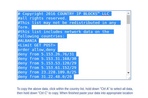 لیست IP کشورها