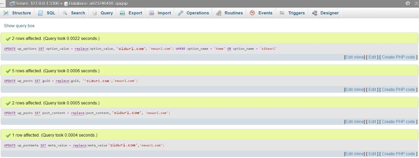 تغییر URL های وردپرس در پایگاه داده MySQL