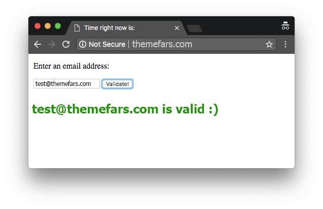جاوا اسکریپت برای تأیید آدرس ایمیل