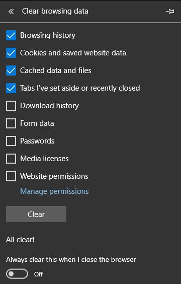 حذف کش مرورگر مایکروسافت اج