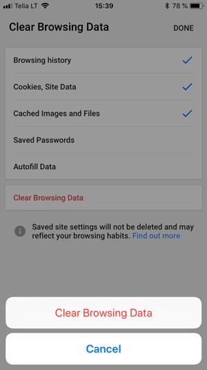 حذف کش مرورگر گوگل کروم در iOS