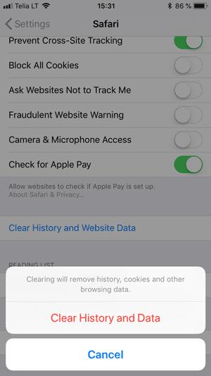 حذف کش مرورگر سافاری در iOS