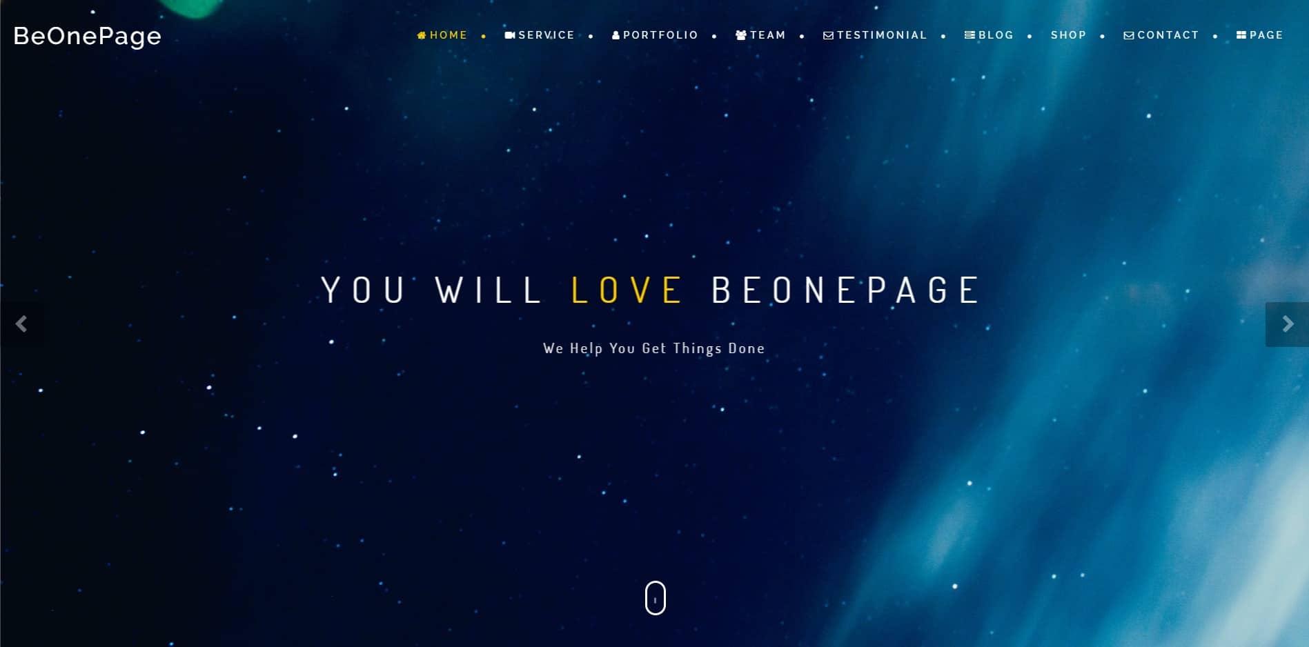 قالب وردپرس تک صفحه ای BeOnePage