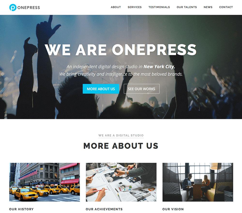 قالب وردپرس تک صفحه ای OnePress