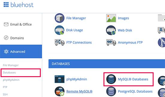 MySQL Databases وردپرس