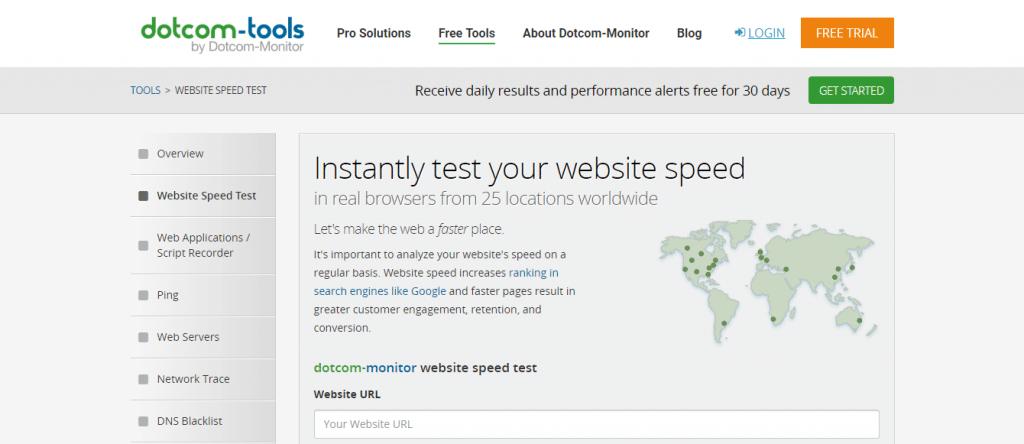 ابزار تست سرعت سایت dotcommonitor