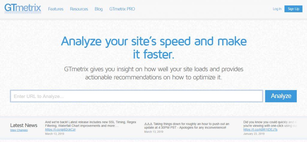ابزار تست سرعت سایت gtmetrix