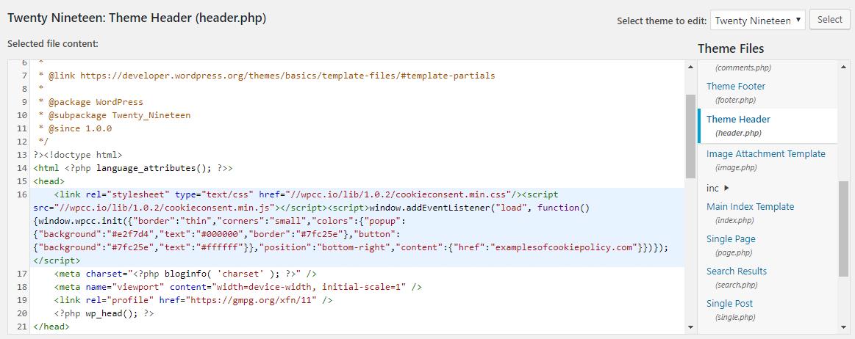 ویرایش فایل header.php