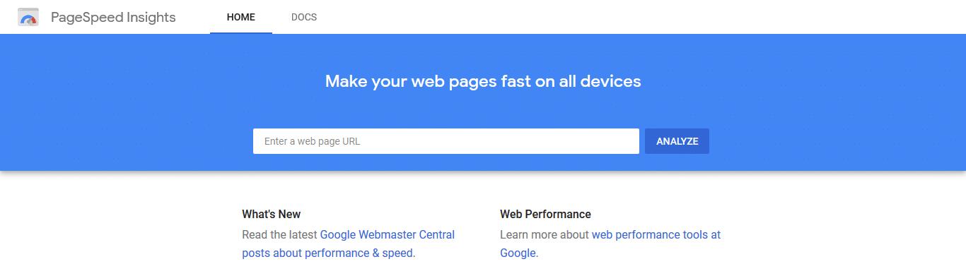 ابزار تست سرعت سایت pagespeedinsights