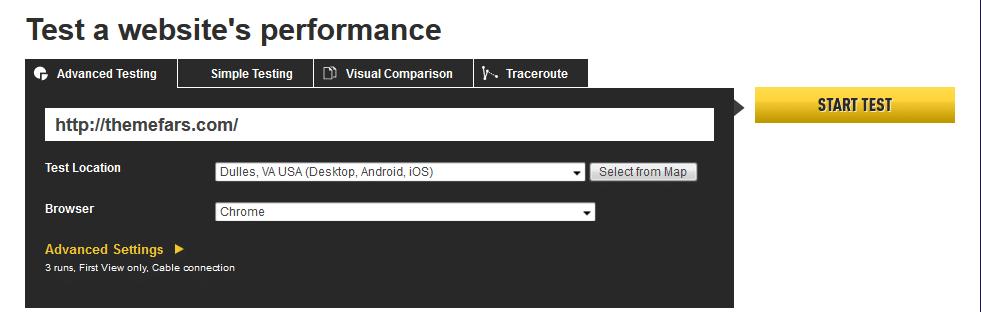 ابزار تست سرعت سایت webpagetest