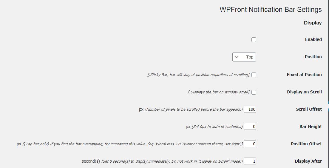 تنظیمات افزونه WPFront Notification Bar