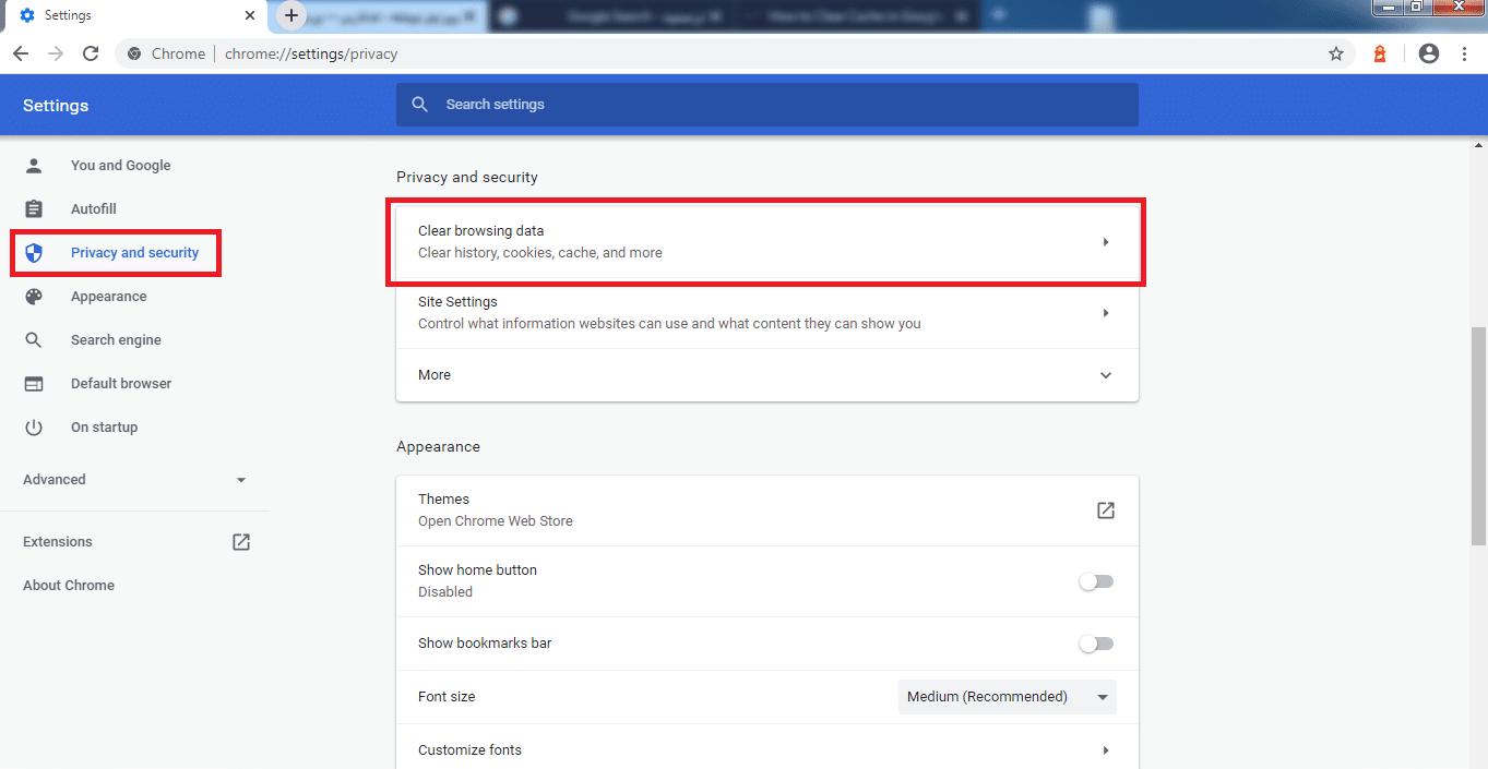 گزینه Clear Browsing Data مرورگر کروم