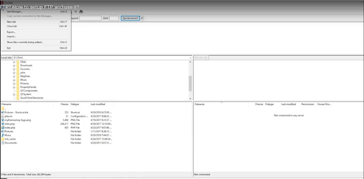 بخش Site Manager در FileZilla