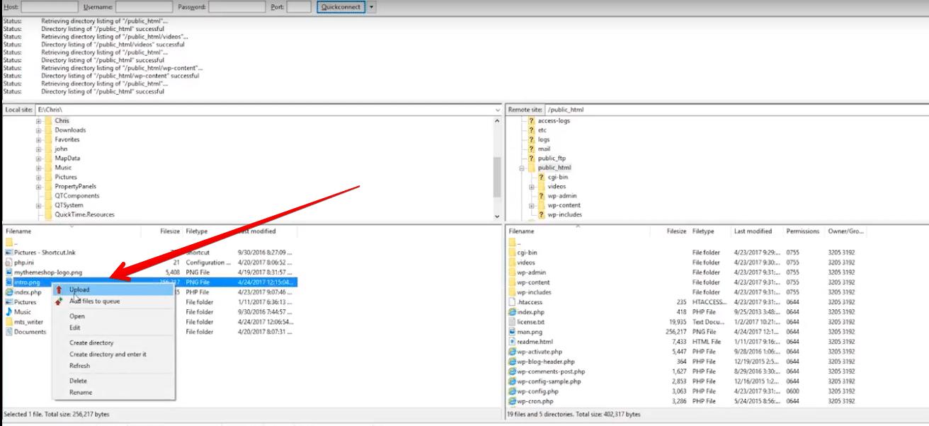 آپلود فایل در وردپرس با FTP