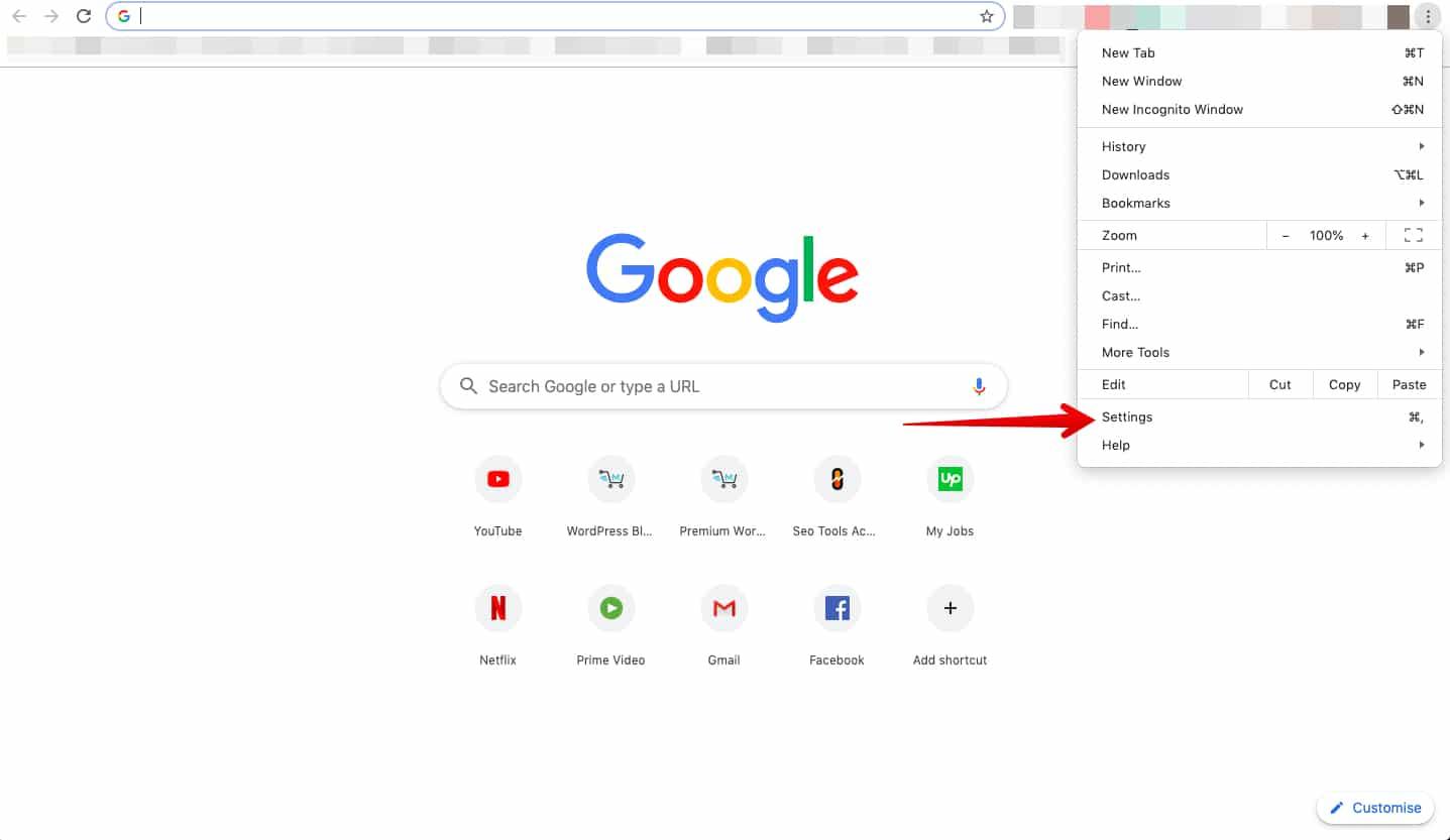 تنظیمات مروگر گوگل کروم