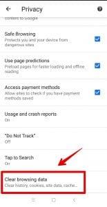 پاک کردن حافظه کش گوگل کروم در موبایل