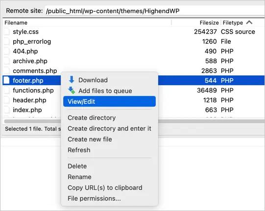 ویرایش قالب وردپرس با FTP