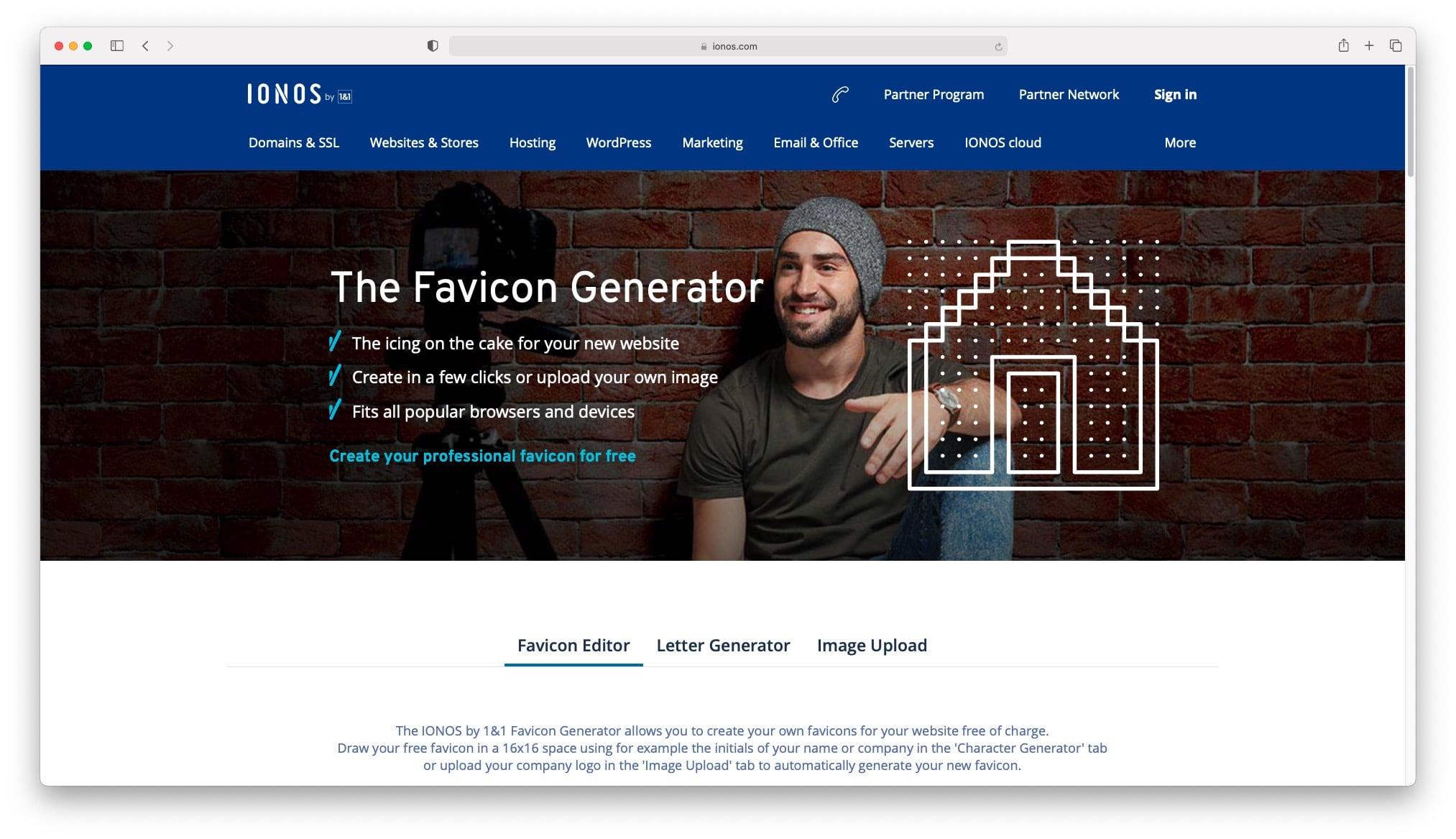 ابزار Ionos Favicon Generator