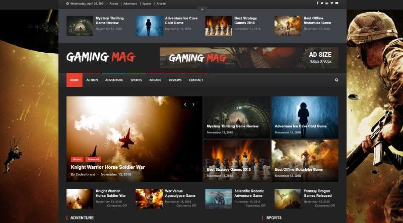 قالب وردپرس بازی Gaming Mag