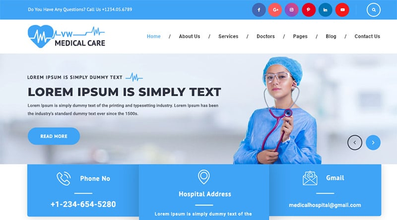 قالب پزشکی رایگان VW Medical Care