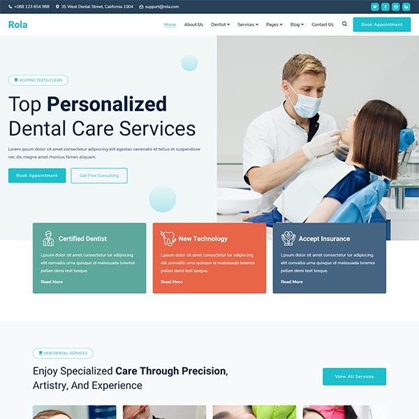 قالب Rola - قالب وردپرس دندانپزشکی